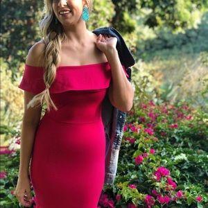 Nordstrom Dresses - NWOT Hot pink midi off the shoulder dress size M